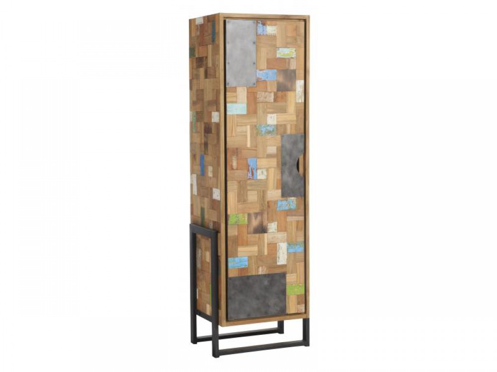 schrank im industriedesign kleiderschrank aus metall und holz h he 195 cm. Black Bedroom Furniture Sets. Home Design Ideas