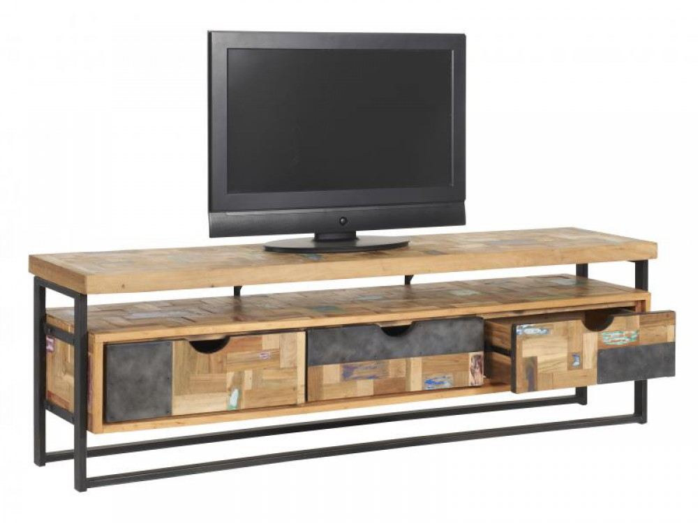 tv regal im industriedesign lowboard aus metall und holz mit drei schubladen l nge 175 cm. Black Bedroom Furniture Sets. Home Design Ideas