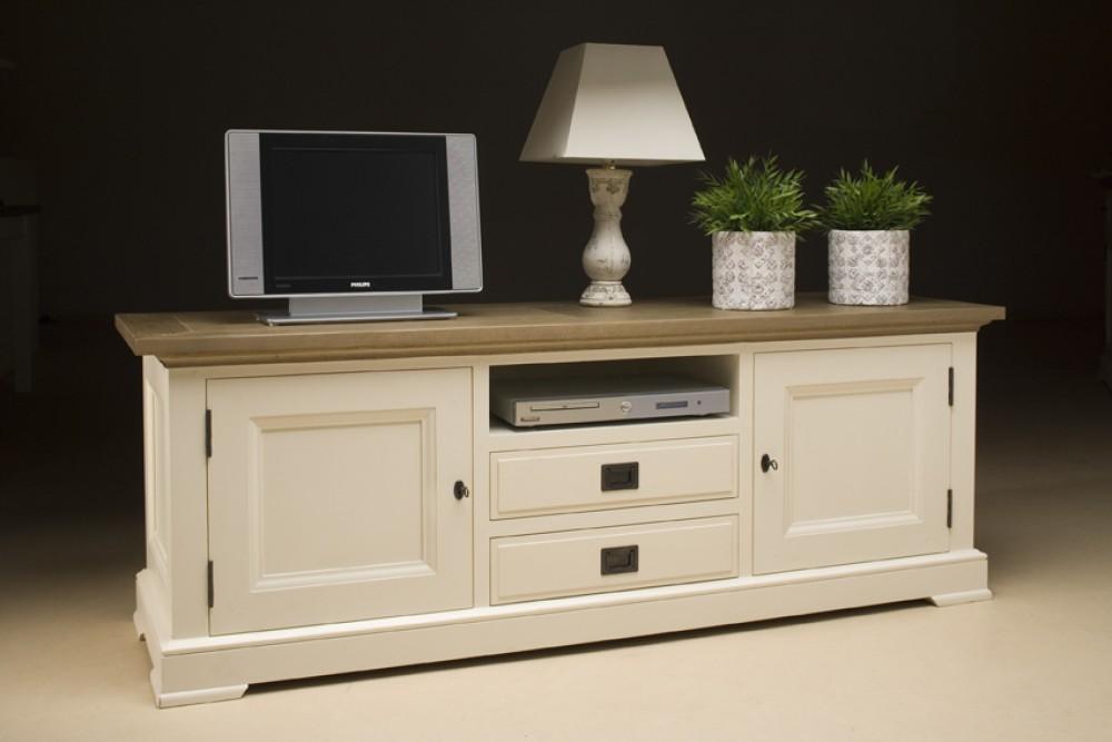 tv schrank lowboard im landhausstil in zwei farben creme. Black Bedroom Furniture Sets. Home Design Ideas