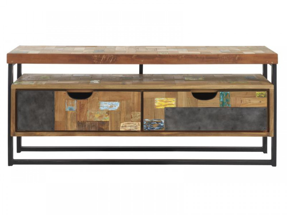 tv regal im industriedesign lowboard aus metall und holz. Black Bedroom Furniture Sets. Home Design Ideas