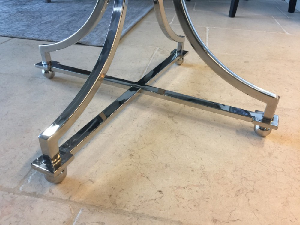 Tisch rund glas metall runder glastisch durchmesser 65 for Exklusive esstische