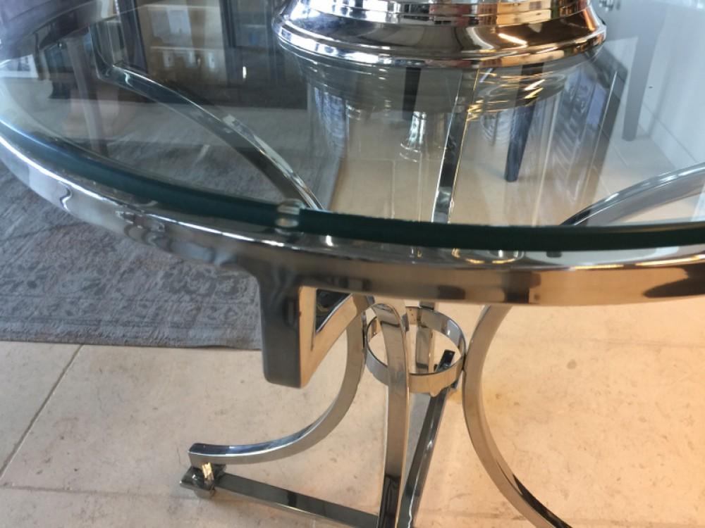 Tisch rund glas metall runder glastisch durchmesser 65 for Exklusive esstische glas