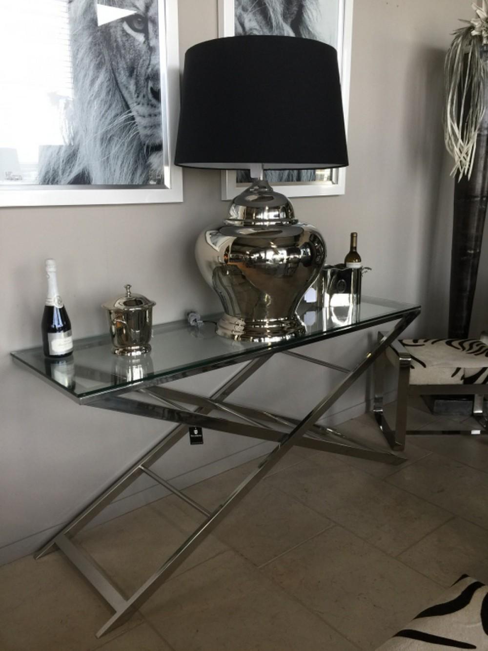 konsole verchromt glas metall sideboard mit glasplatte wandtisch verchromt glas ma e 160x50 cm. Black Bedroom Furniture Sets. Home Design Ideas