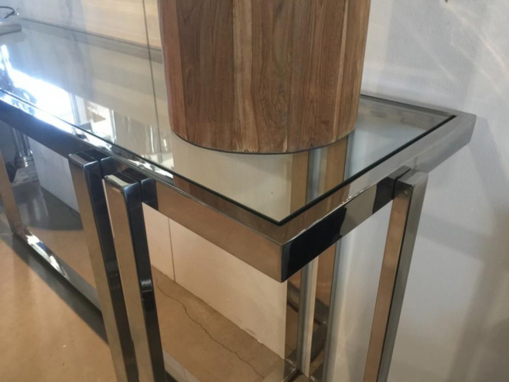 konsole glas silber wandkonsole silber metall wandtisch verchromt glas metall breite 148 cm. Black Bedroom Furniture Sets. Home Design Ideas