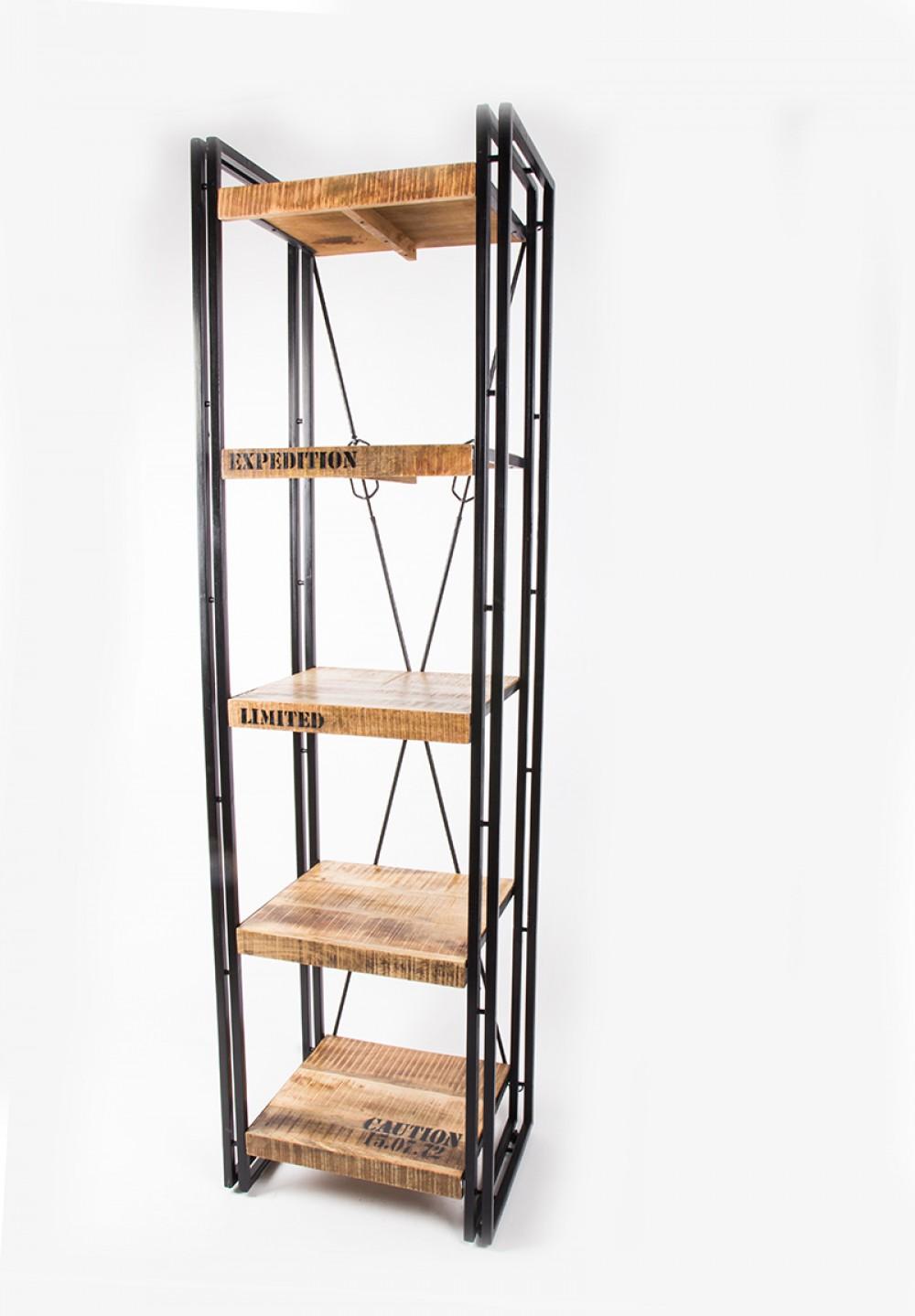 regal mit f nf b den aus massivholz im industriedesign breite 55 h he 200 cm. Black Bedroom Furniture Sets. Home Design Ideas