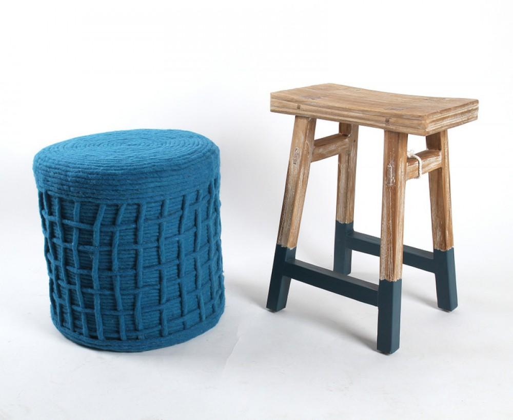 hocker beistelltisch aus holz massiv farbe blau grau. Black Bedroom Furniture Sets. Home Design Ideas