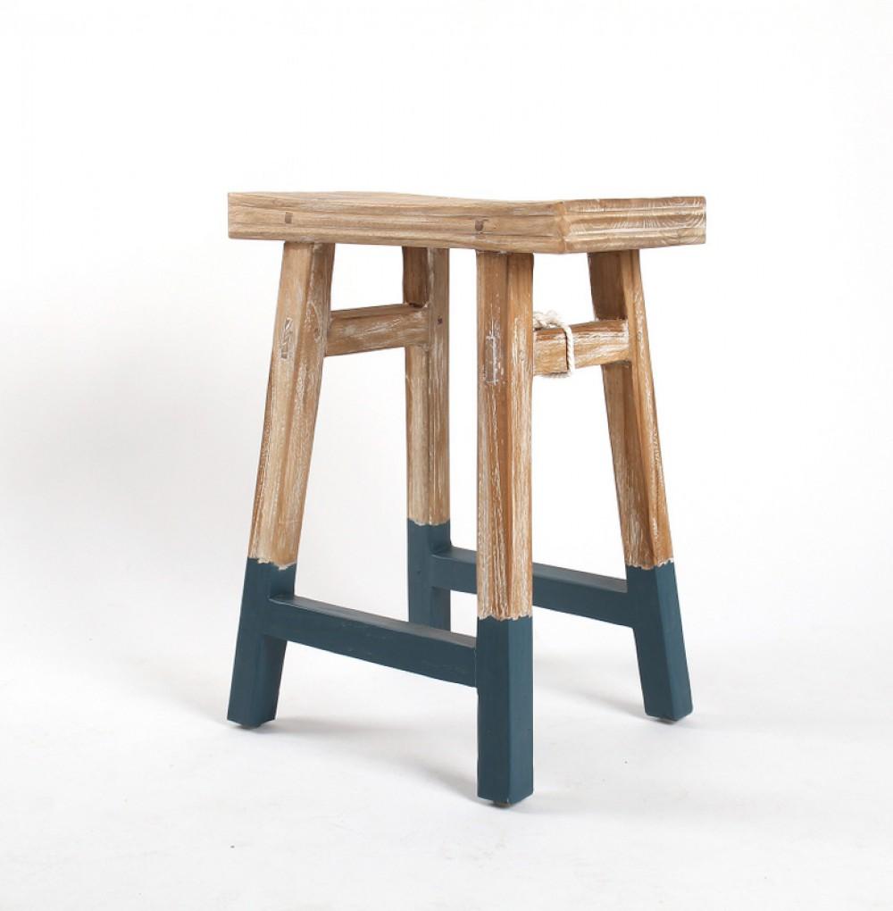Hocker / Beistelltisch aus Holz, massiv, Farbe blau-grau ...