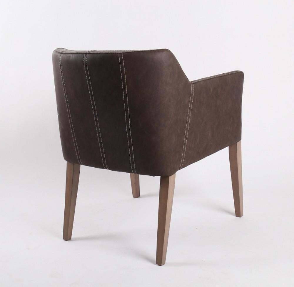 stuhl mit armlehne braun gepolstert. Black Bedroom Furniture Sets. Home Design Ideas