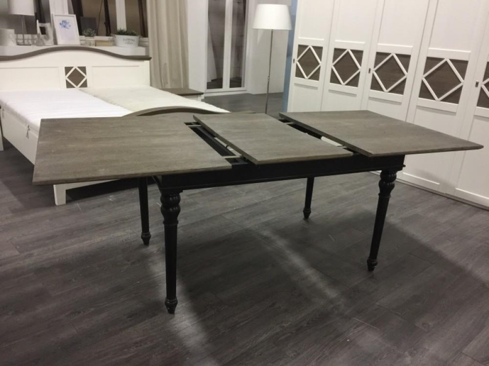 Tisch ausziehbar schwarz grau landhaus esstisch schwarz for Esstisch massivholz grau