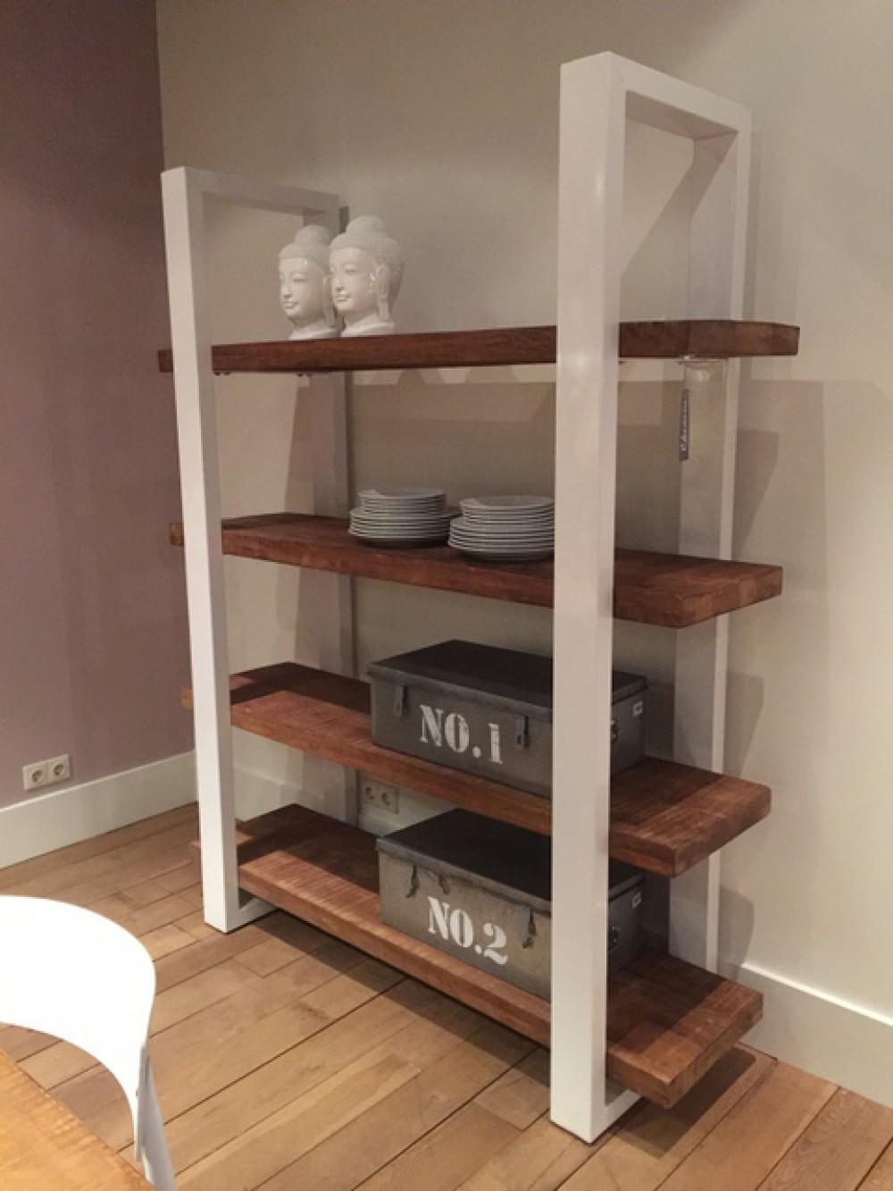 regal wei naturholz regal industrie wei breite 160 cm. Black Bedroom Furniture Sets. Home Design Ideas