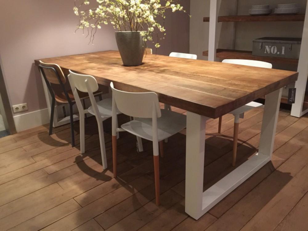 bartisch wei naturholz tresentisch industrie wei tisch metall wei h he 110 cm. Black Bedroom Furniture Sets. Home Design Ideas