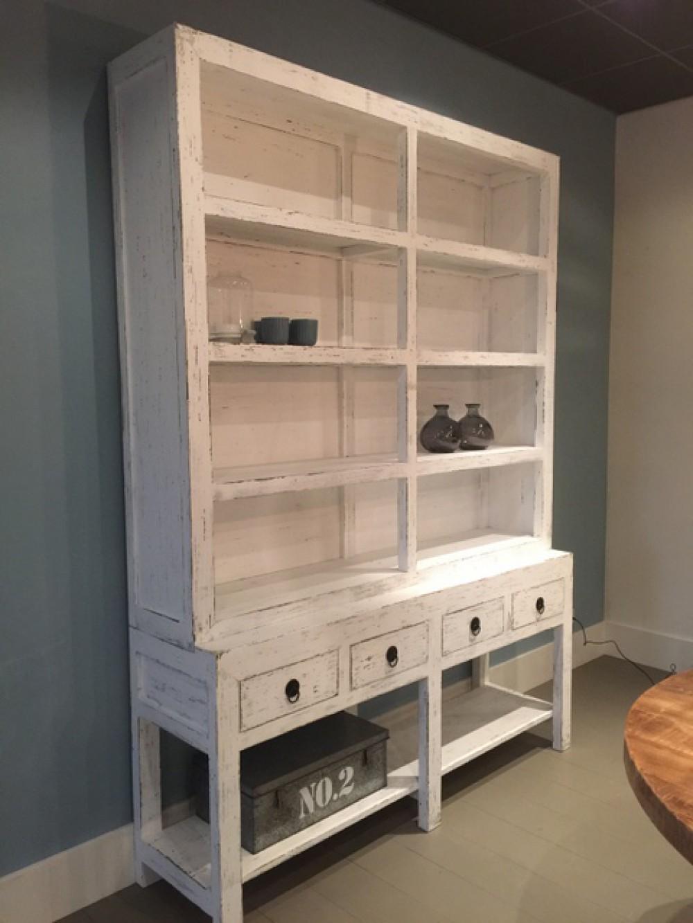 Bücherschrank weiß vintage Landhaus, Wohnzimmerschrank weiß im ...