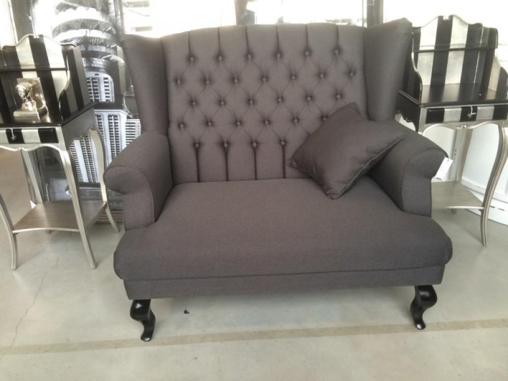 1,5 Sitzer Sofa Anthrazit, Sofa im Landhausstil, Breite 122 cm