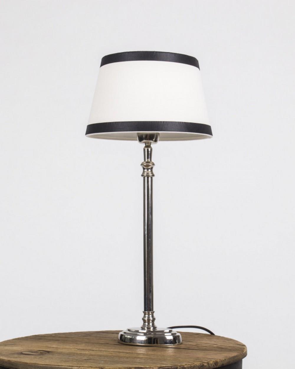 tischleuchte mit lampenschirm wei schwarz tischlampe verchromt h he 40 cm. Black Bedroom Furniture Sets. Home Design Ideas