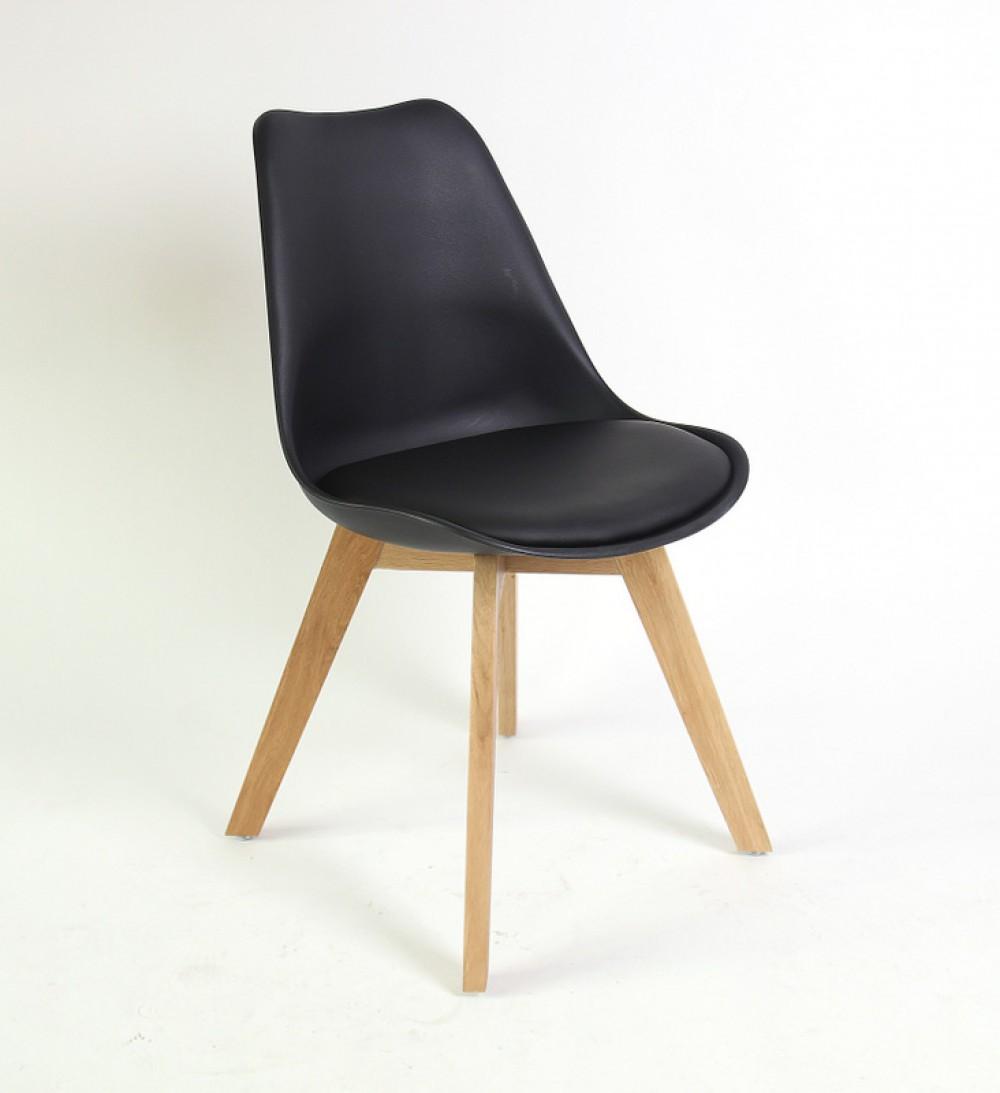 stuhl gepolstert mit einem gestell aus massivholz farbe schwarz. Black Bedroom Furniture Sets. Home Design Ideas