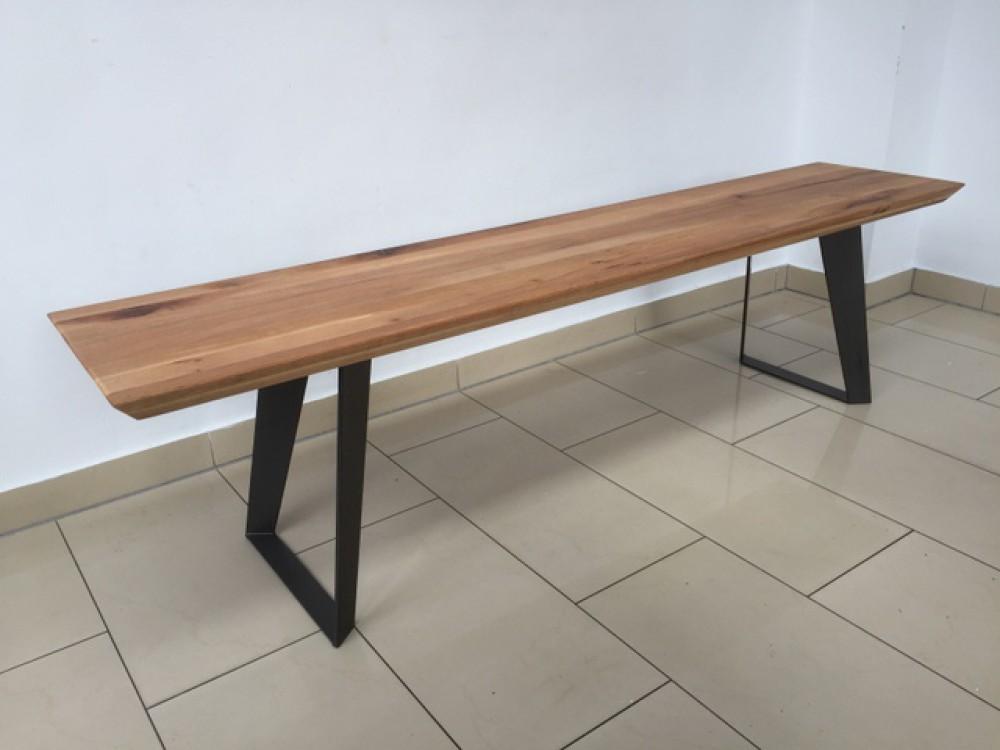 bank eiche massiv sitzbank massivholz gestell metall. Black Bedroom Furniture Sets. Home Design Ideas
