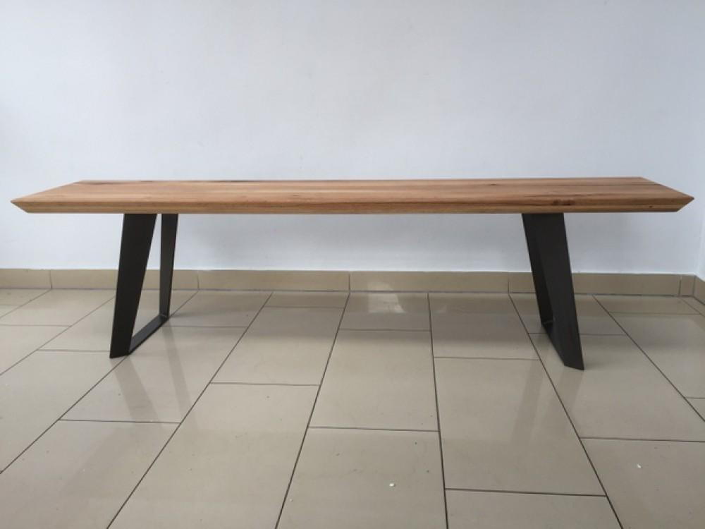 bank eiche massiv sitzbank massivholz gestell metall l nge 180 cm. Black Bedroom Furniture Sets. Home Design Ideas