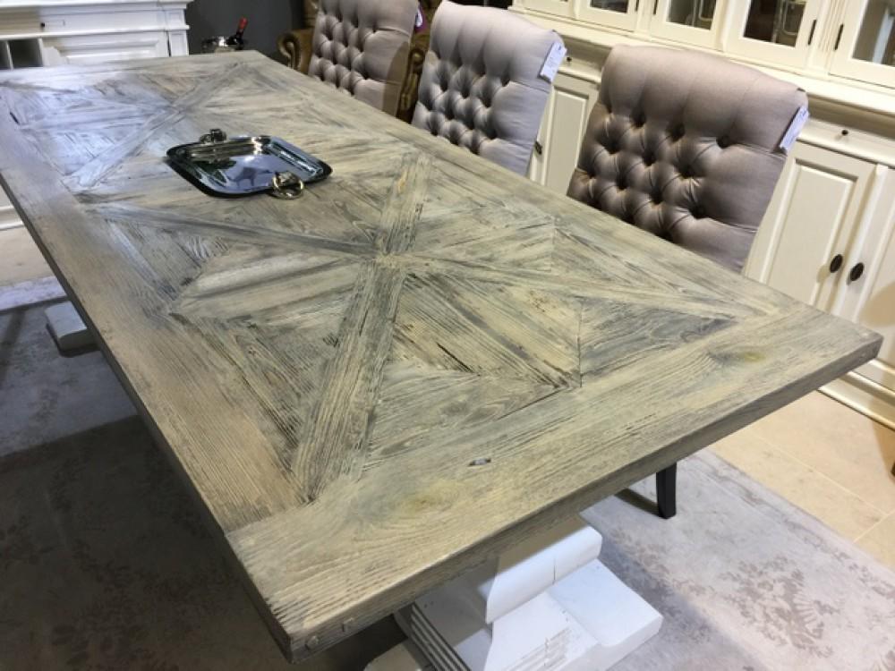 Tisch wei grau im landhausstil esstisch vintage klassisch for Esstisch 1 40 m
