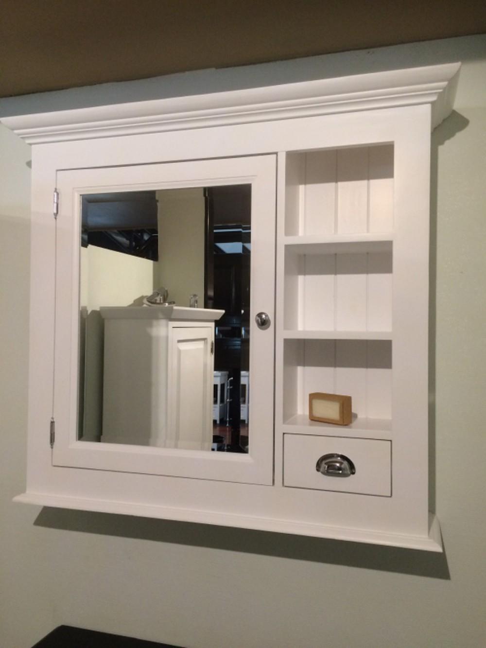 Spiegelschrank weiß im Landhausstil, Spiegel weiß, Breite 98 cm