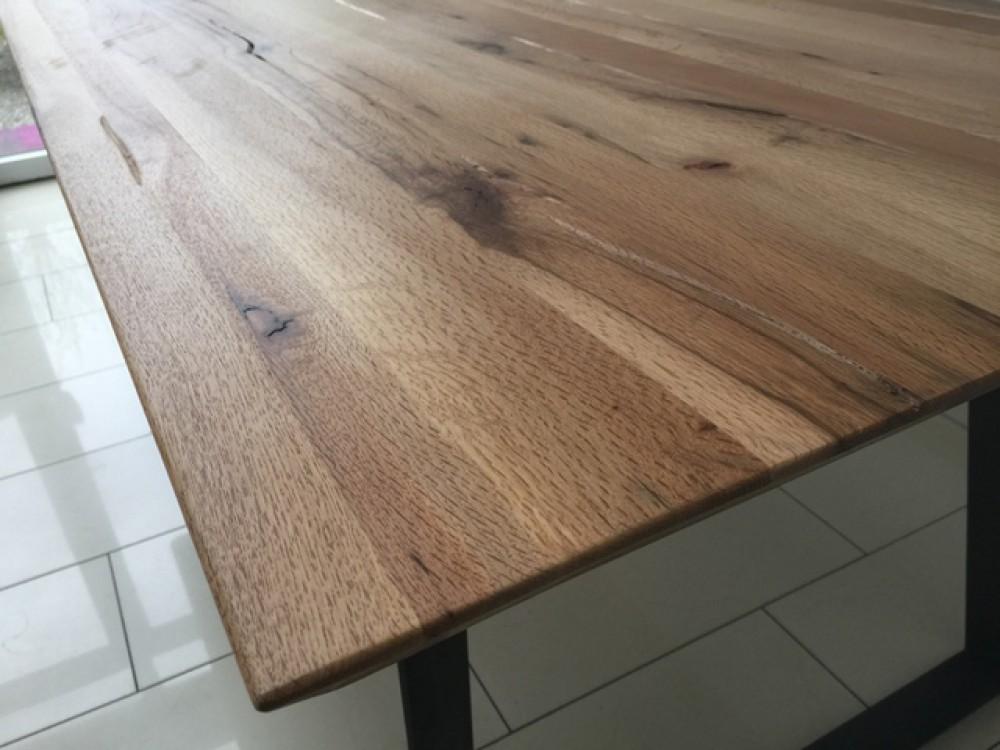 Tischplatte massivholz eiche  Esstisch Eiche Tischplatte, Tisch Massiv-Eiche Gestell Metall ...