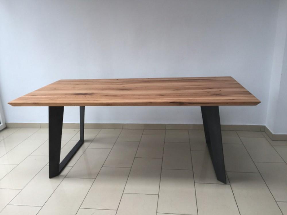 esstisch eiche tischplatte tisch massiv eiche tisch gestell metall ma e 180 x 90 cm. Black Bedroom Furniture Sets. Home Design Ideas