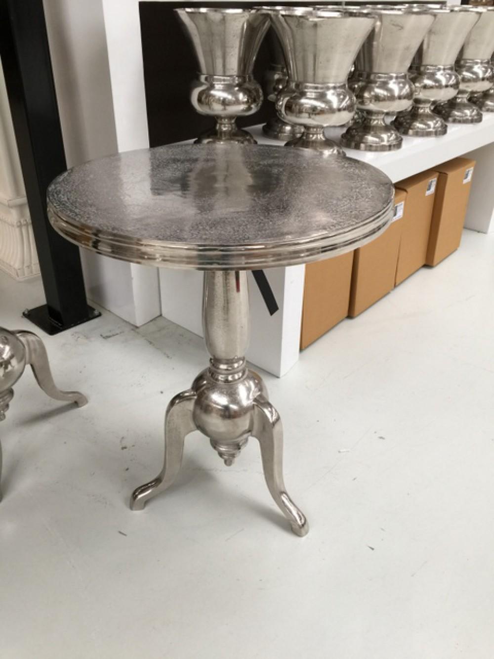 Beistelltisch Rund Silber Metall Aluminium Durchmesser 60 Cm