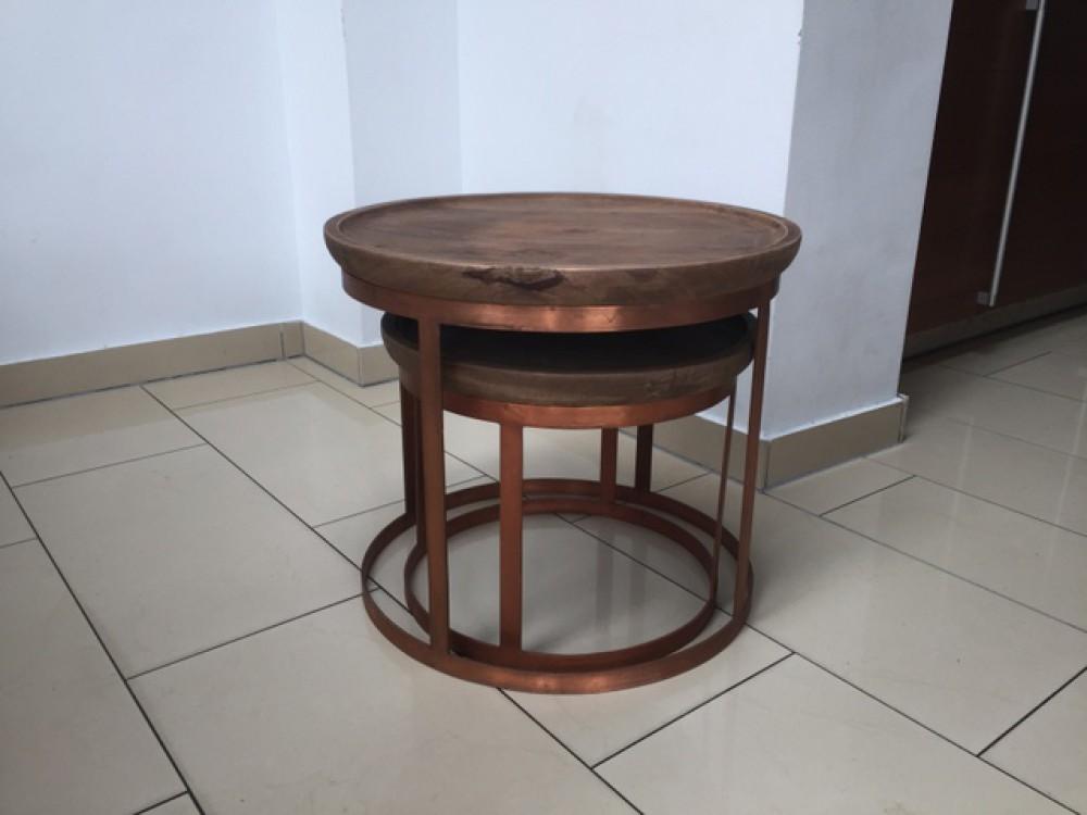 2er set beistelltisch rund kupfer couchtisch rund kupfer for Couchtisch naturholz
