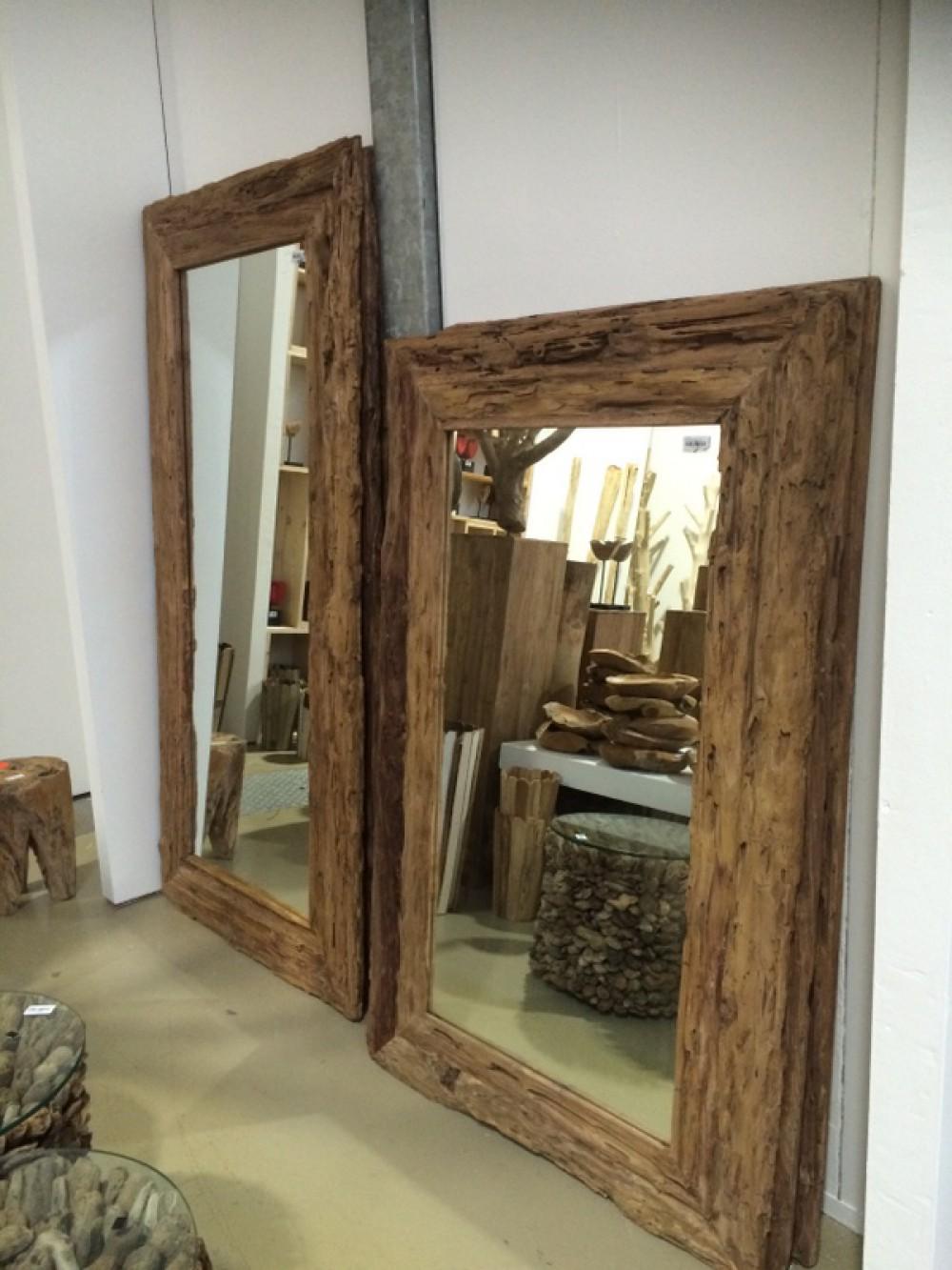 Spiegel teakholz recycled wandspiegel holzrahmen ma e 160 x 100 cm - Spiegel cm ...