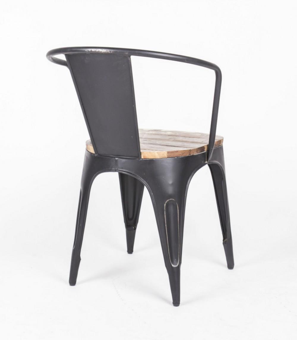 stuhl schwarz metall und holz im industriedesign. Black Bedroom Furniture Sets. Home Design Ideas