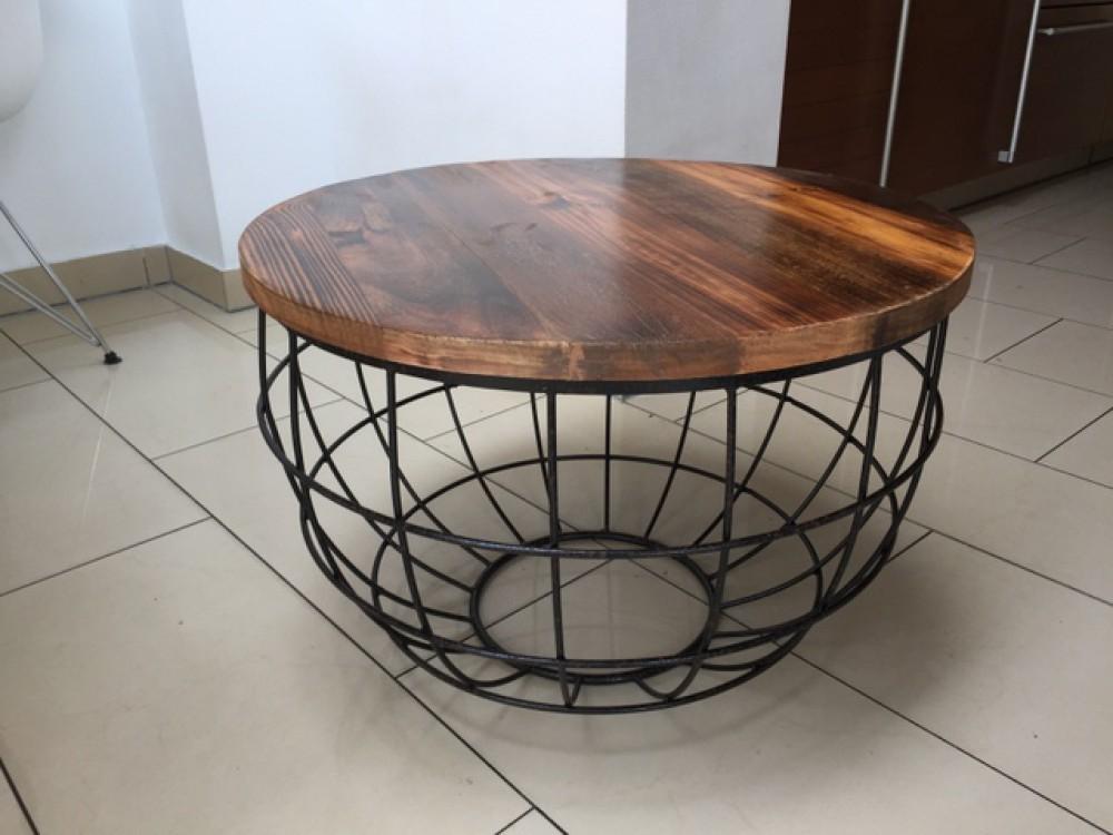 couchtisch rund rost naturholz beistelltisch korb durchmesser 60 cm. Black Bedroom Furniture Sets. Home Design Ideas