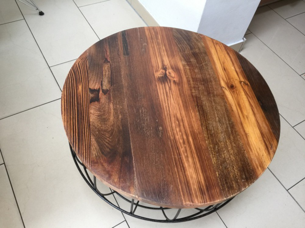 couchtisch rund rost naturholz beistelltisch korb durchmesser 80 cm. Black Bedroom Furniture Sets. Home Design Ideas