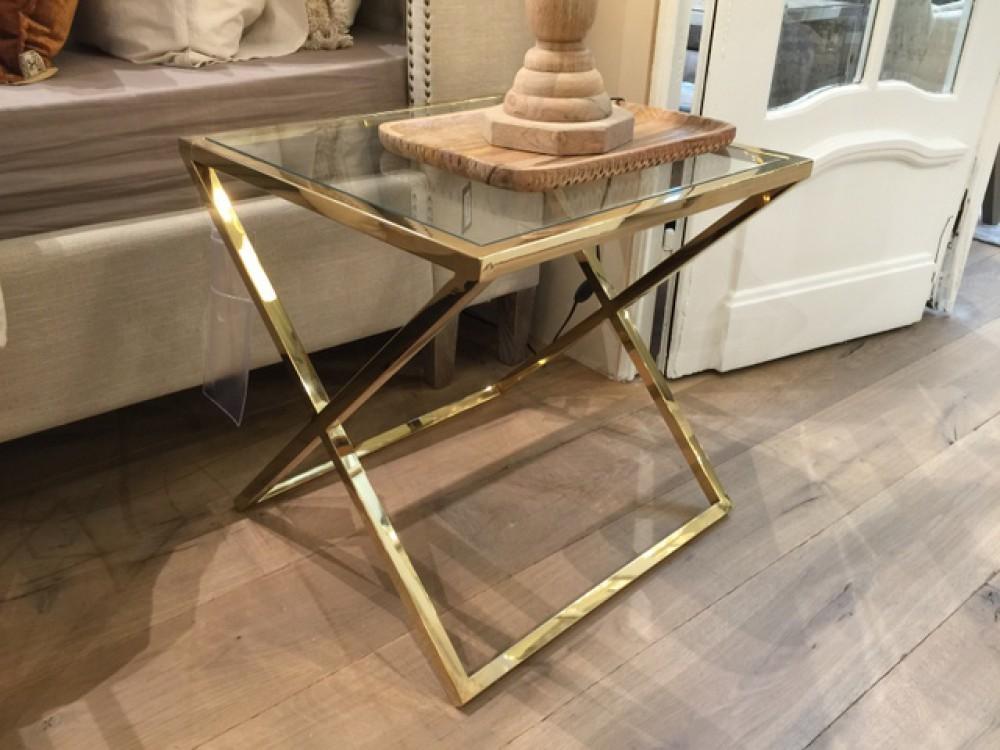 Beistelltisch gold glas metall glastisch gold tisch gold for Esstisch 50x50
