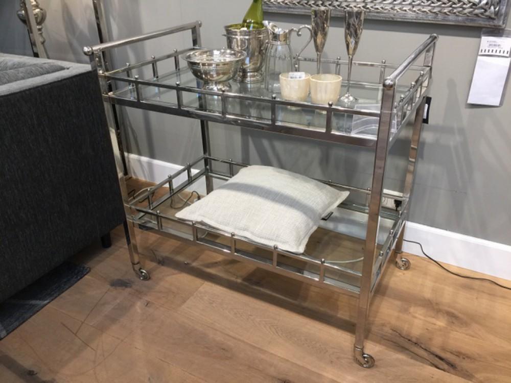 Servierwagen Glas servierwagen glas metall serviertisch silber glas trolley silber