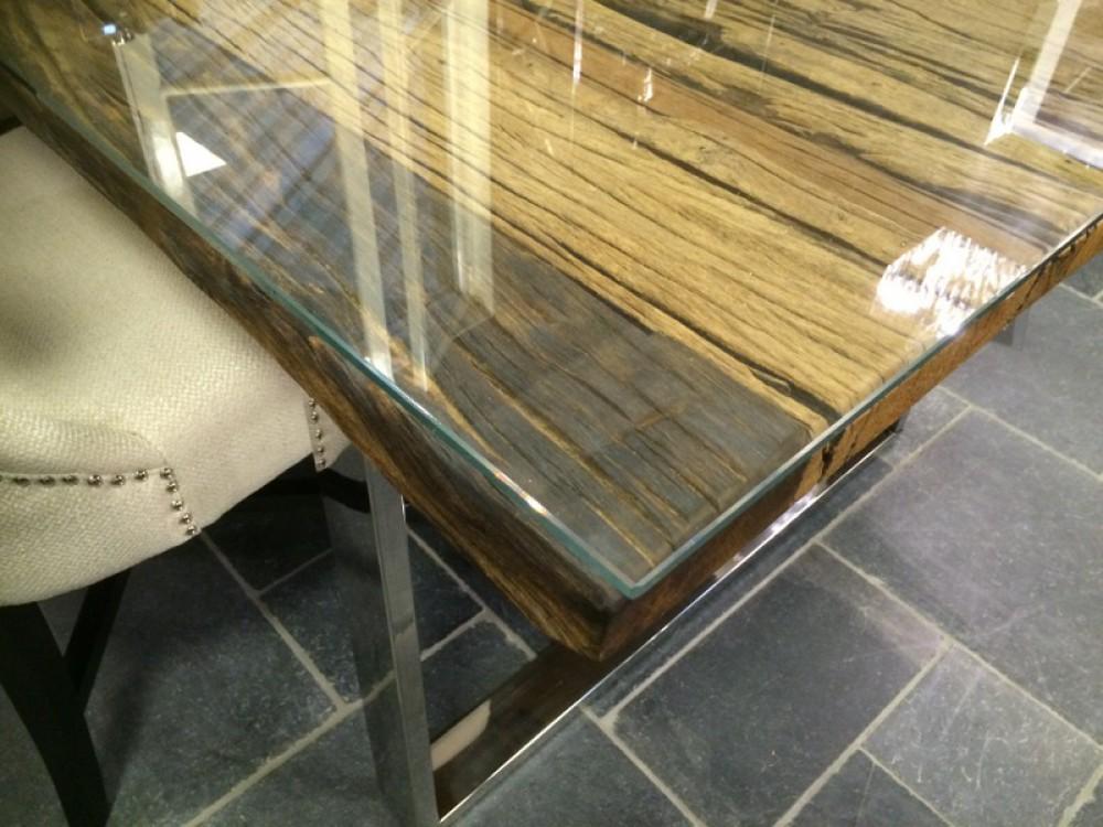 esstisch glasplatte recyceltes holz tisch l nge 220 cm. Black Bedroom Furniture Sets. Home Design Ideas
