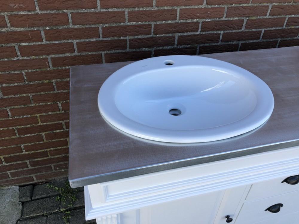 Waschtisch weiß-Silber Massivholz, Waschtisch verzinkte Tischplatte ...