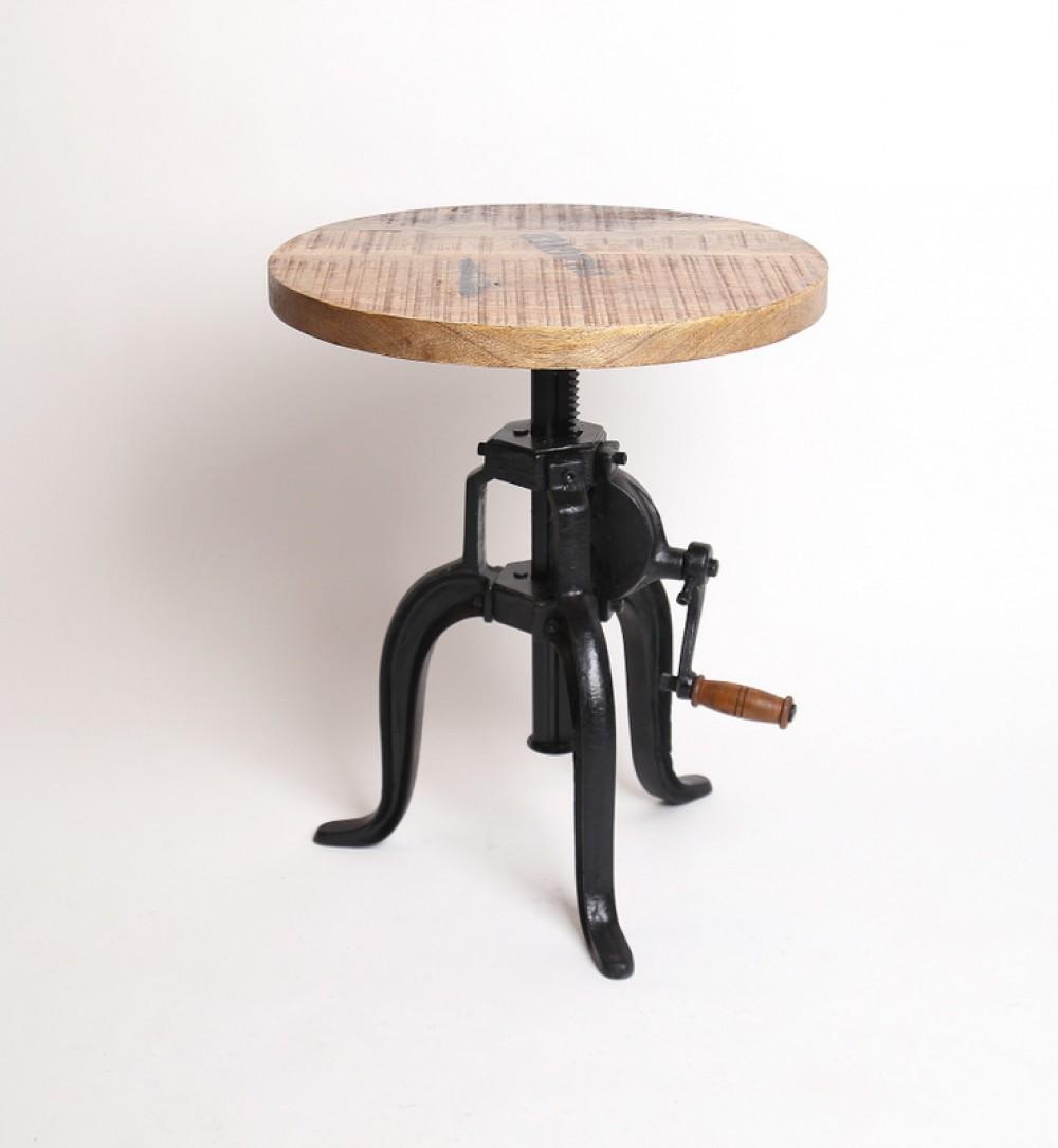 beistelltisch aus massivholz im industriedesign, durchmesser 45 cm, Moderne