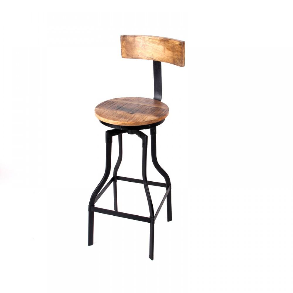 Barhocker, Tresenhocker im Industriedesign aus Akazienholz und ...