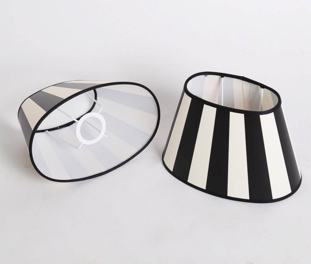 gestreifter lampenschirm klassisch schwarz wei gestreift oval 25 cm. Black Bedroom Furniture Sets. Home Design Ideas