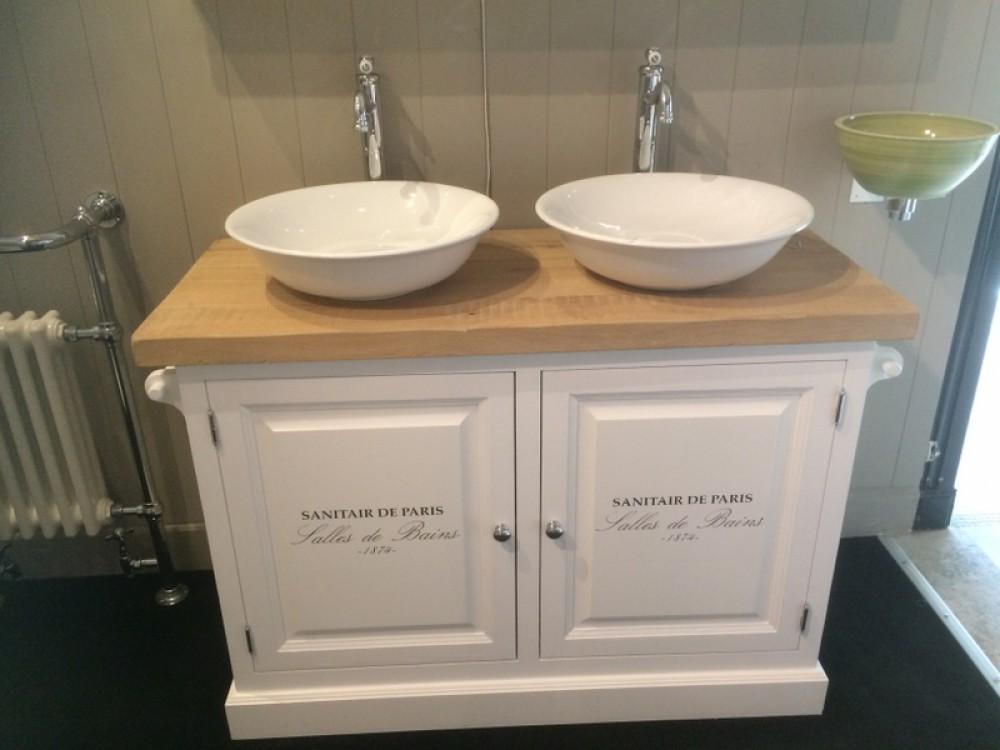 waschtisch wei massivholz doppelwaschtisch im landhausstil spiegel optional bad. Black Bedroom Furniture Sets. Home Design Ideas
