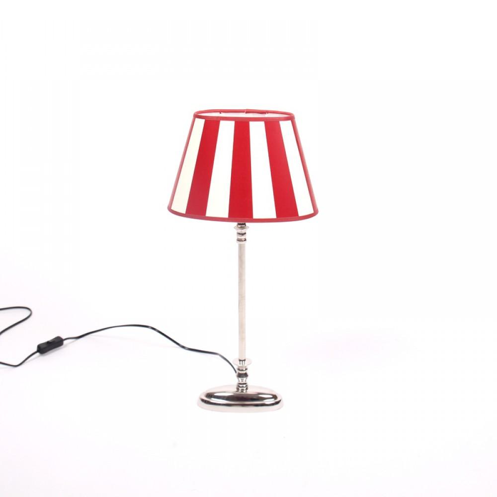 tischleuchte mit eine gestreiften lampenschirm rot wei tischlampe verchromt h he 52 cm. Black Bedroom Furniture Sets. Home Design Ideas