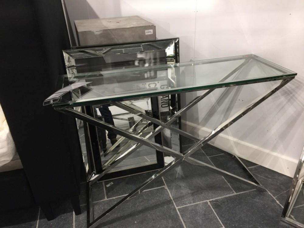 konsole silber glas metall verchromt wandtisch verchromt glas ma e 120x40 cm. Black Bedroom Furniture Sets. Home Design Ideas