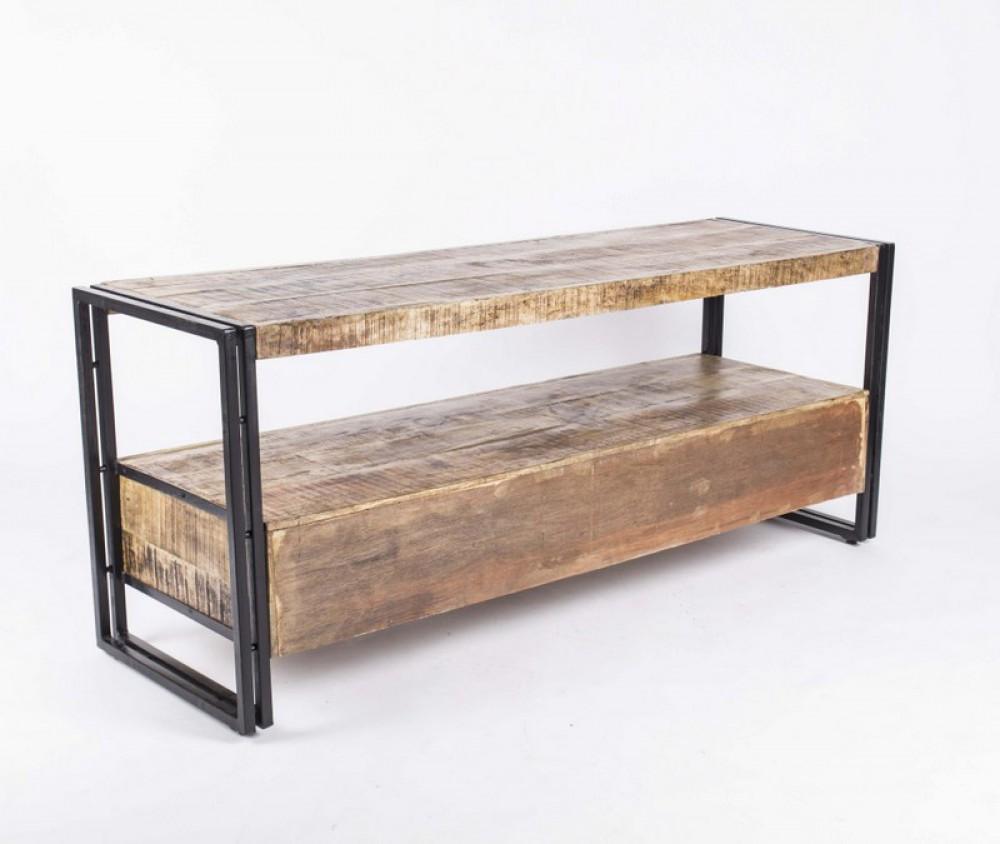 wandkonsole tv lowboard aus massivholz im industriedesign mit 3 schubladen. Black Bedroom Furniture Sets. Home Design Ideas