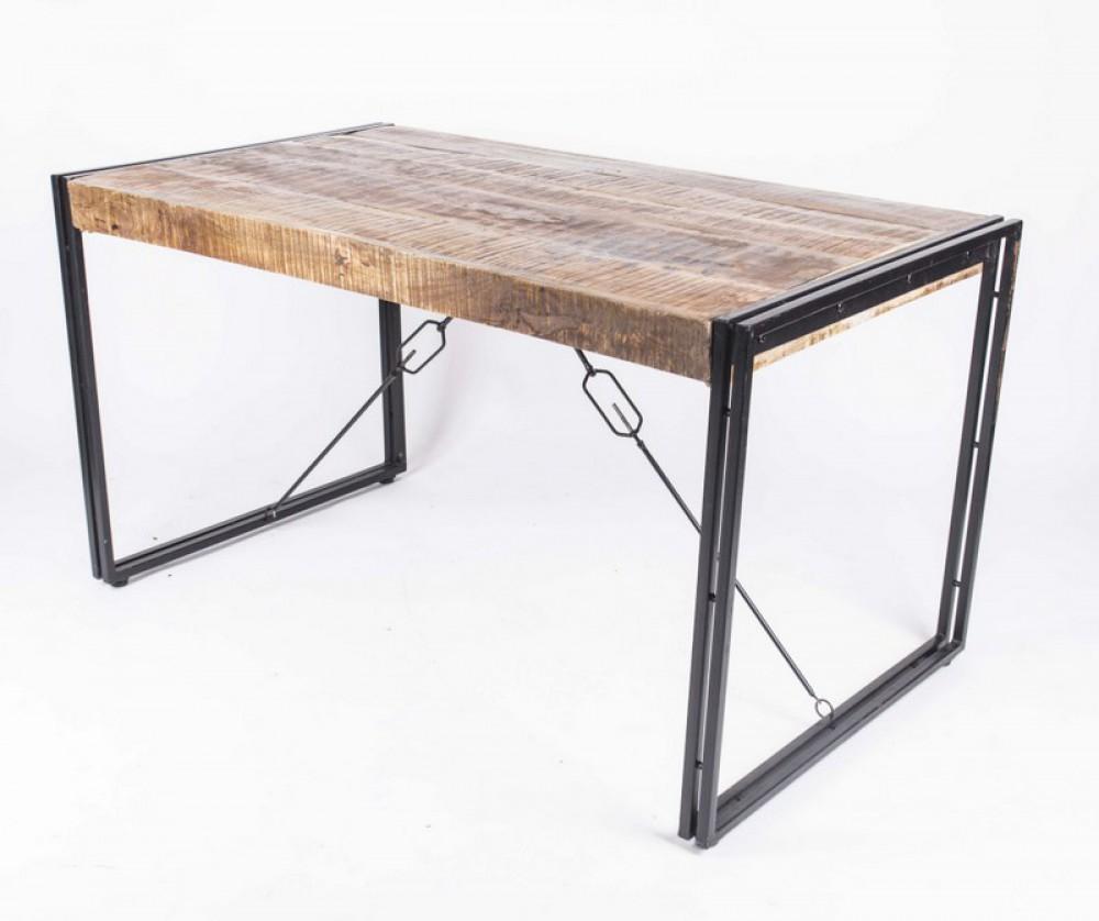 Esstisch aus massivholz tisch metall holz industriedesign for Esstisch tisch industriedesign