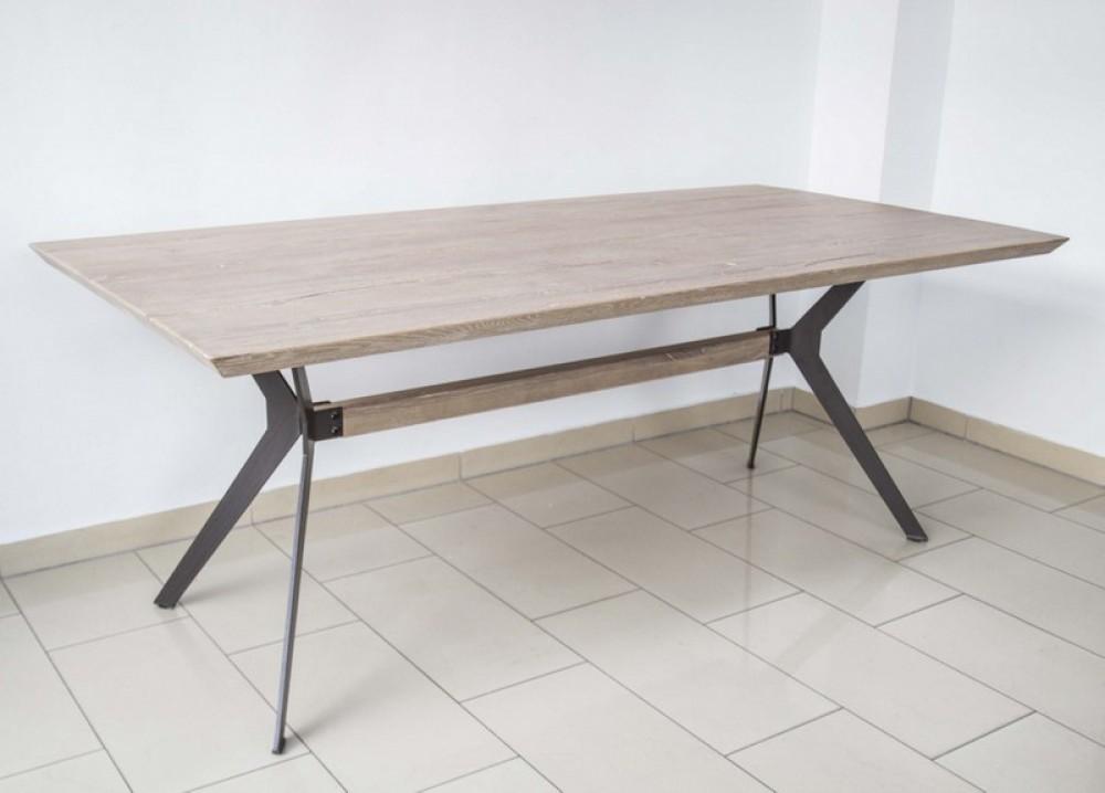 esstisch eiche tischplatte tisch massiv eiche gestell metall mae 180 x 90 cm