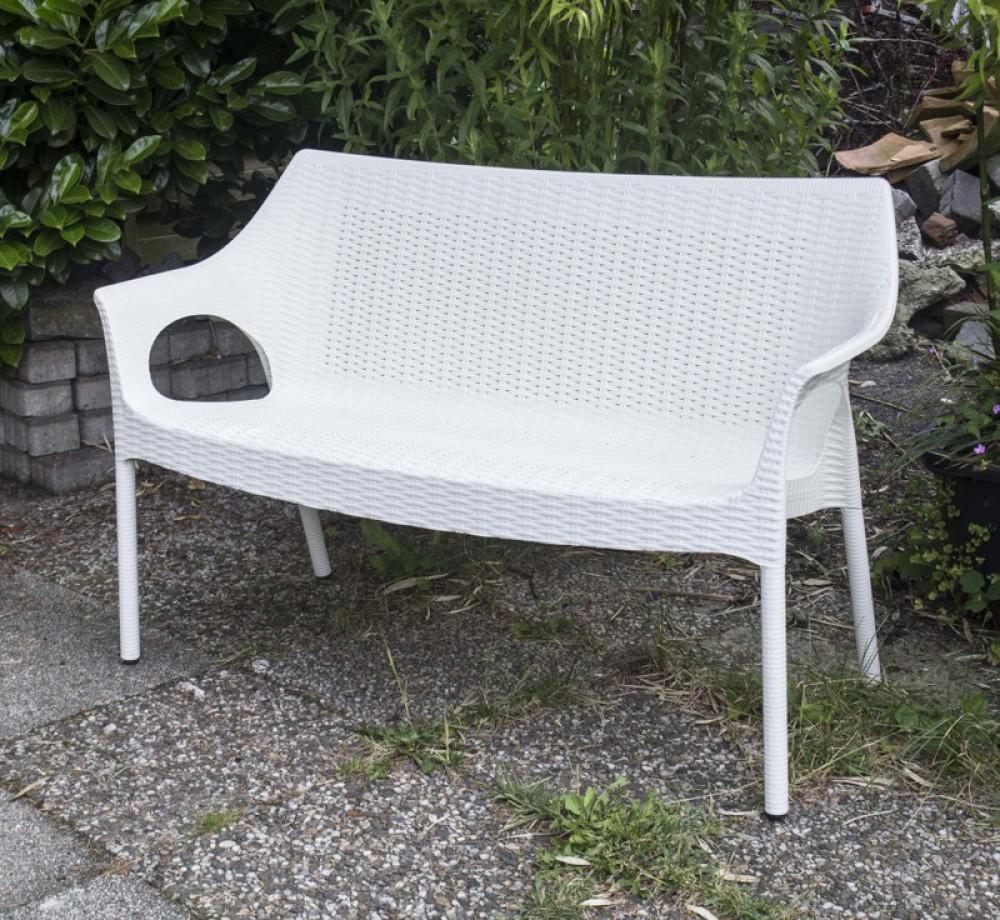 Outdoor - Bank aus Kunststoff, Gartenbank mit Sitzauflage