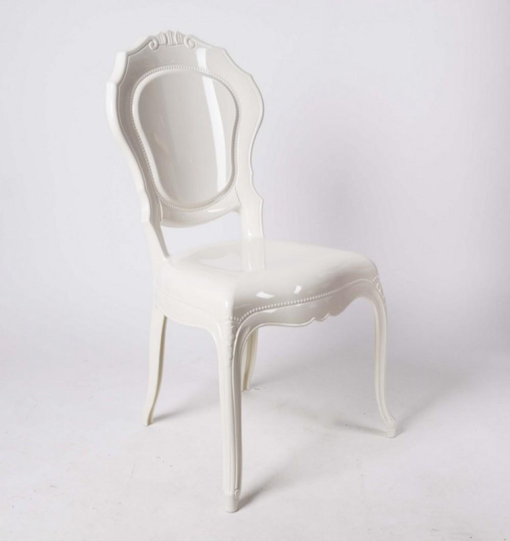 stuhl barock aus polycarbonat wei creme. Black Bedroom Furniture Sets. Home Design Ideas