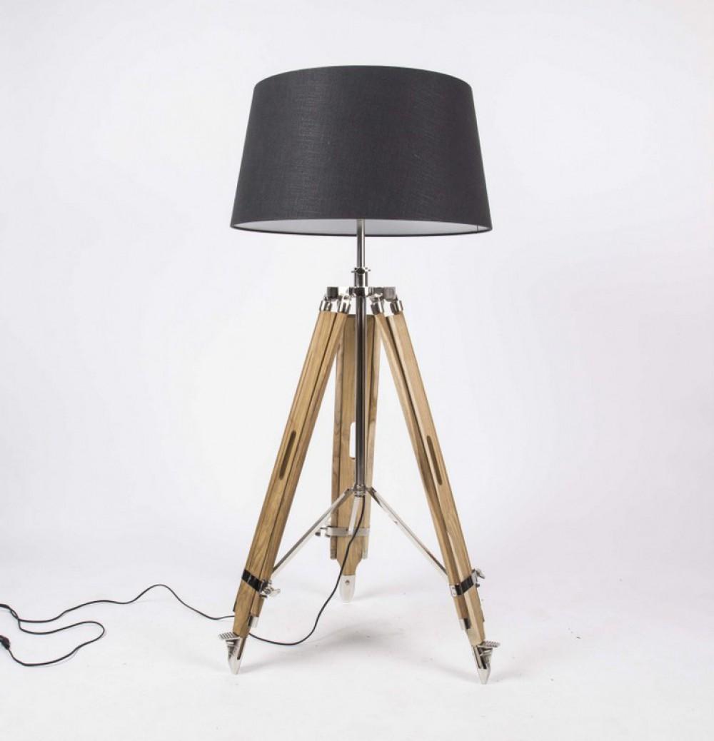 stehleuchte h henverstellbar im landhausstil dreibein stehlampe mit einem lampenschirm h he. Black Bedroom Furniture Sets. Home Design Ideas