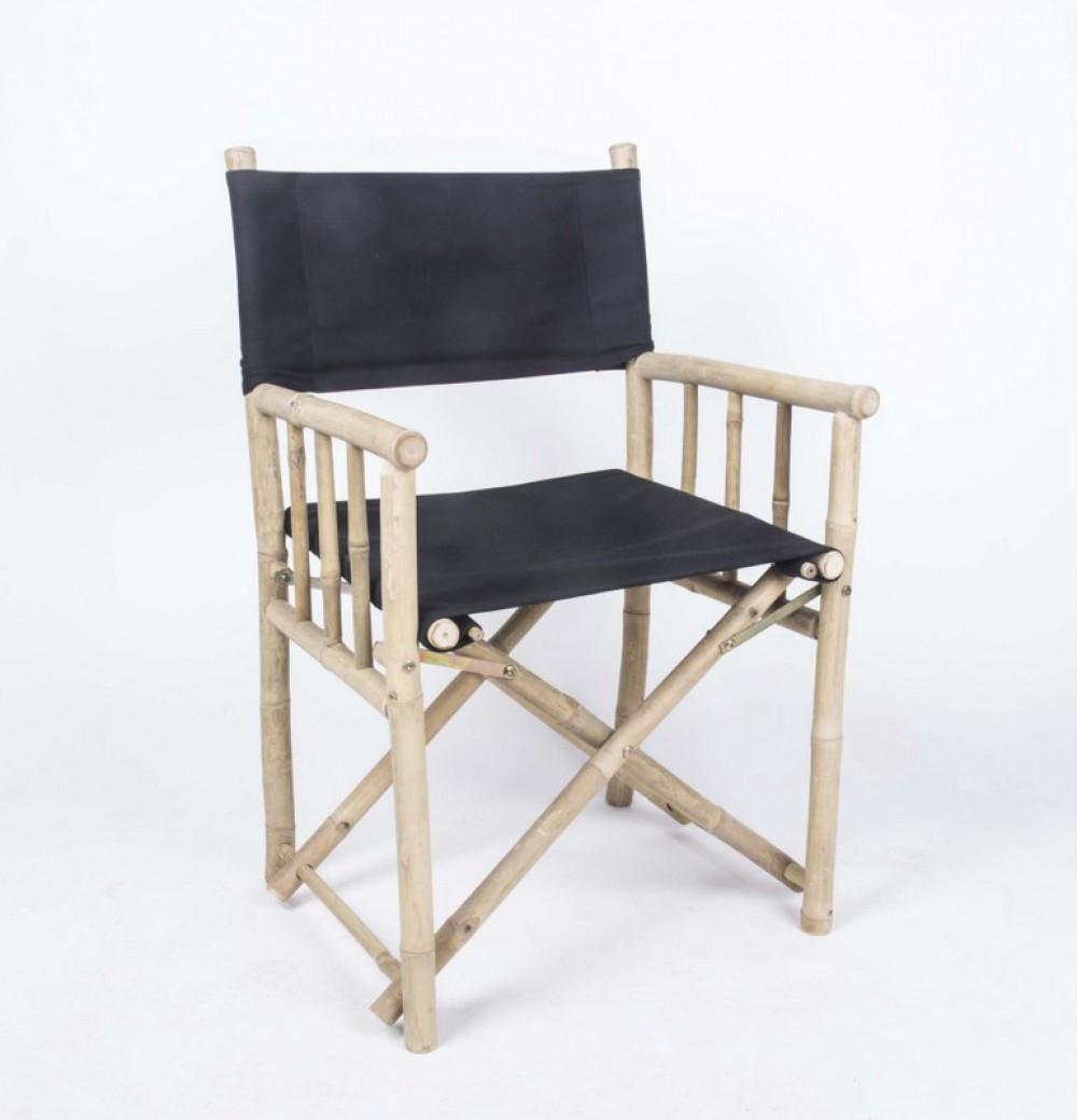 regiestuhl aus bambusgestell klappstuhl farbe schwarz. Black Bedroom Furniture Sets. Home Design Ideas