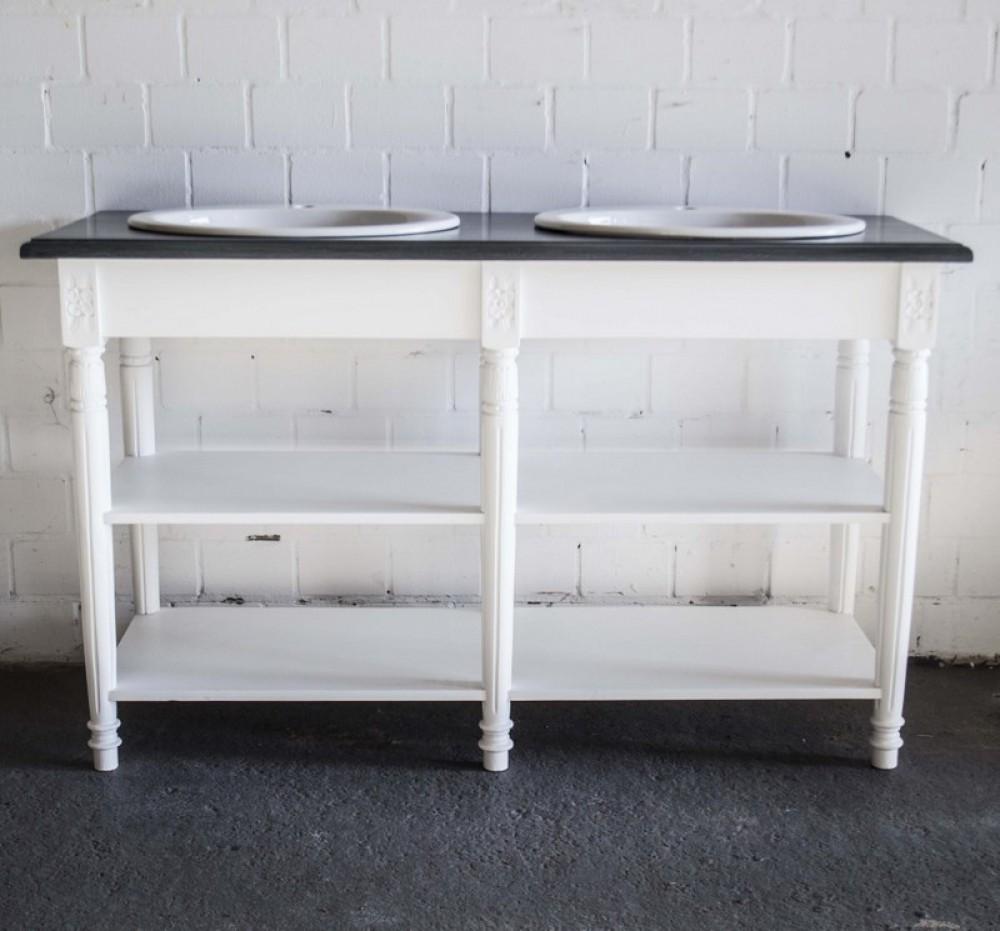 waschtisch wei grau im landhausstil badm bel wei breite 150 cm. Black Bedroom Furniture Sets. Home Design Ideas