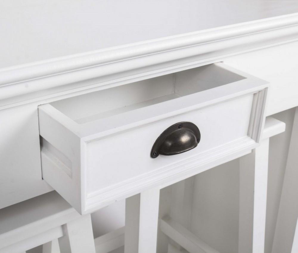 tisch tresentisch mit zwei hocker aus massivholz in weiss im landhausstil. Black Bedroom Furniture Sets. Home Design Ideas